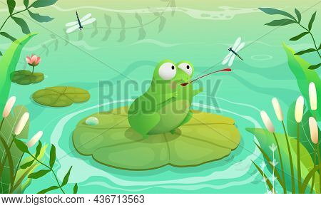 Frog Hunting Dragonfly On Pond, Swamp Or Lake Scenery For Kids. Background With Waterlily Grass And