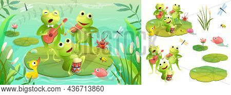 Frogs Band Playing Musical Instruments On The Lake, Animal Concert. Frogs Concert On Swamp Backgroun