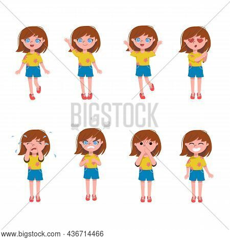 Cartoon Vector Illustration Set Of Cute Little Girl Face Emotions And Expressions. Kid Character Exp