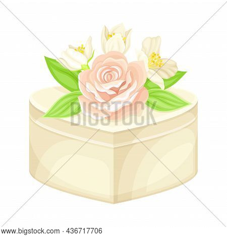 Wedding Gift Box With Floral Decor On Top Closeup Vector Illustration