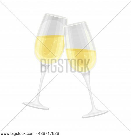 Two Glasses With Sparkling Champagne As Wedding Drink Closeup Vector Illustration