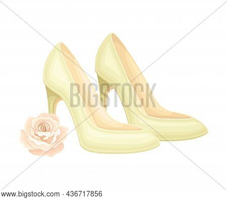 High Heeled Wedding Shoes With Pink Rose Bud Rested Nearby Closeup Vector Illustration
