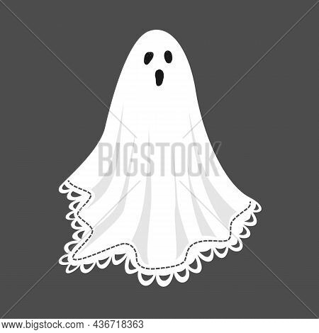 Cute Ghost In A Vintage Sheet Decorated With Lace Trimming. Template For Halloween Decorative Design
