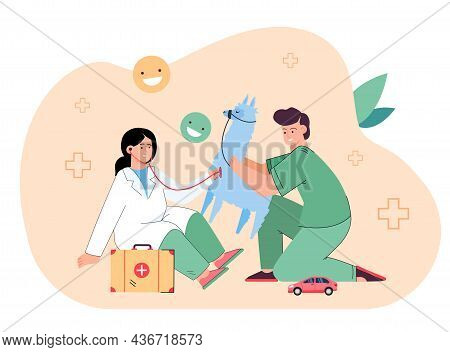 Kids Boy And Girl In Medical Uniform Treating And Examining Toy Lama. Cute Children Playing Doctor A