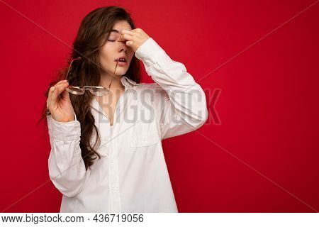 Photo Of Nice Attractive Lovely Cute Winsome Sad Upset Sorrowful Brown-haired Woman Wearing Casual O