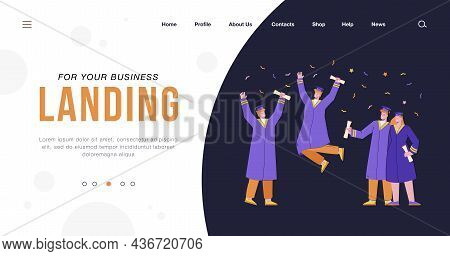Happy Graduated Students In Gowns Holding Academic Diplomas Flat Vector Illustration. Cartoon Young