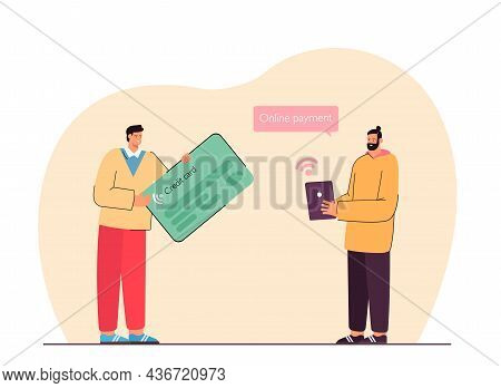 Man Paying Online Via Tablet And Person Holding Huge Credit Card. Payment Methods Flat Vector Illust