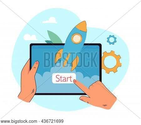 Hands Holding Tablet With Forefinger Clicking Start Button. New Application Launch Flat Vector Illus