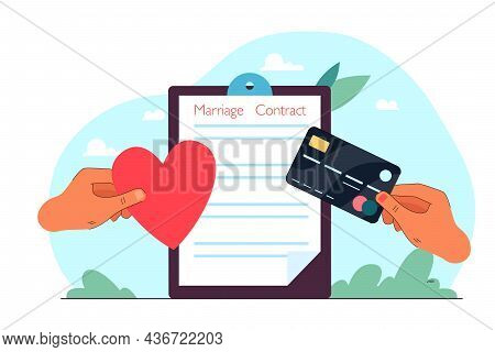 Stretching Hands With Heart And Credit Card On Marriage Contract Background. Couple Signing Marriage