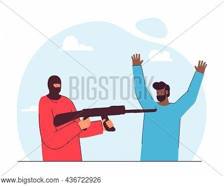 Criminal Threatening Man With Weapon Flat Vector Illustration. Man Wearing Mask Pointing Rifle At Pe