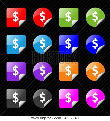 Set Of Vector Sticky Badges For Dollar Currency Theme. Easy To Edit, Any Size. Aqua Web 2.0