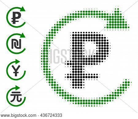 Pixel Halftone Rouble Repay Icon, And Bonus Icons. Vector Halftone Composition Of Rouble Repay Icon