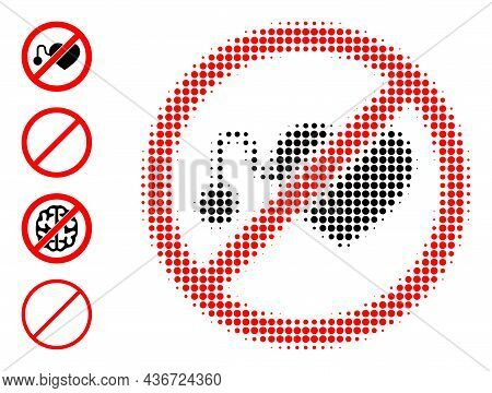 Pixelated Halftone Forbidden Pacemaker Icon, And Other Icons. Vector Halftone Concept Of Forbidden P