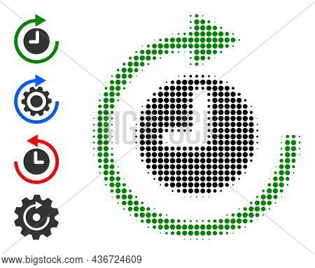 Pixel Halftone Clockwise Rotation Icon, And Other Icons. Vector Halftone Pattern Of Clockwise Rotati