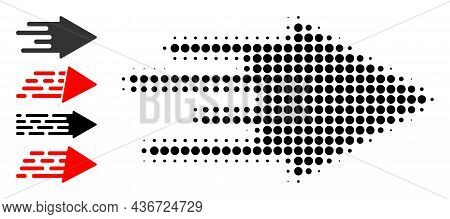 Dotted Halftone Quick Arrow Icon, And Other Icons. Vector Halftone Pattern Of Quick Arrow Icon Forme
