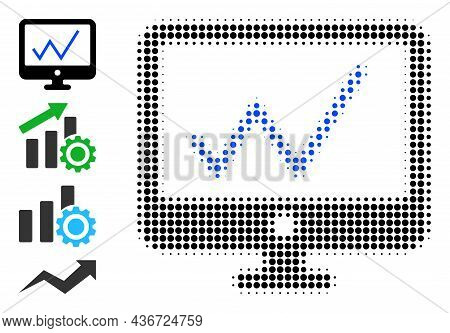 Pixel Halftone Chart Monitoring Icon, And Original Icons. Vector Halftone Concept Of Chart Monitorin