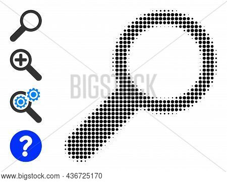 Pixelated Halftone Find Icon, And Bonus Icons. Vector Halftone Composition Of Find Icon Composed Of