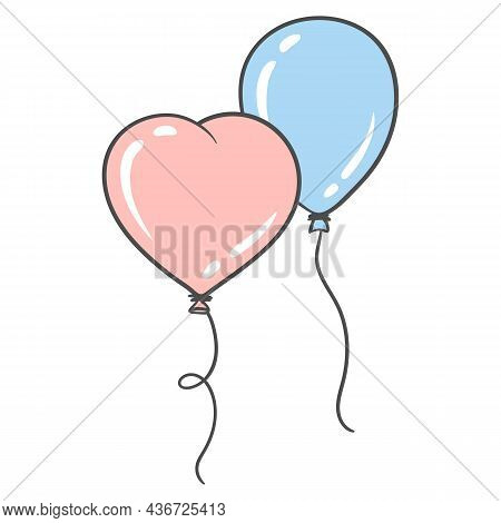 Illustration Of Balloons Pink In The Shape Of Heart And Blue. Picture For Decoration Of Celebrations