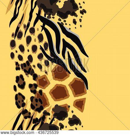 Seamless Pattern With Decorative Animal Print. African Savannah Fauna Stylized Ornament, Fur Texture