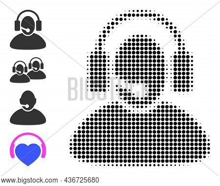 Dotted Halftone Call Center Operator Icon, And Additional Icons. Vector Halftone Collage Of Call Cen