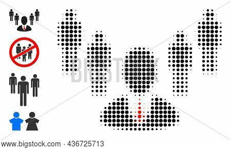 Dotted Halftone Group Boss Icon, And Other Icons. Vector Halftone Pattern Of Group Boss Icon Organiz