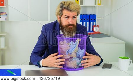 Businessman With Trash Can. Office Worker With Wastebasket. Bearded Man Look For Lost Document.