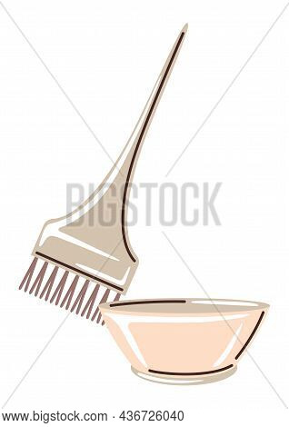 Barber Illustration Of Professional Hair Coloring Brush And Container. Hairdressing Item.