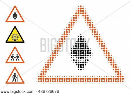 Pixel Halftone Ethereum Warning Icon, And Additional Icons. Vector Halftone Concept Of Ethereum Warn