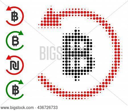 Dot Halftone Bitcoin Refund Icon, And Bonus Icons. Vector Halftone Pattern Of Bitcoin Refund Symbol