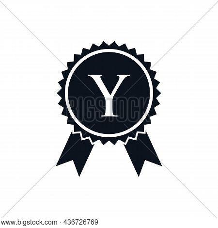 Winner Award Certified Medal Badge On Y Logo Template. Best Seller Badge Sign Logo Design On Letter