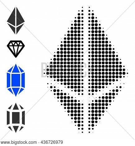 Dotted Halftone Rhombus Crystal Icon, And Bonus Icons. Vector Halftone Pattern Of Rhombus Crystal Ic