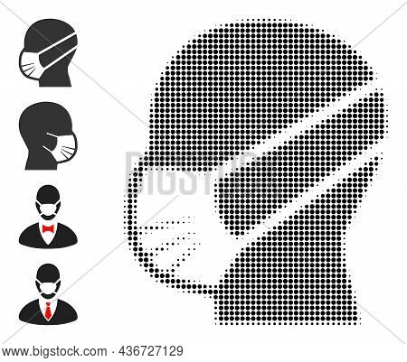 Pixelated Halftone Man Covid Mask Icon, And Original Icons. Vector Halftone Composition Of Man Covid