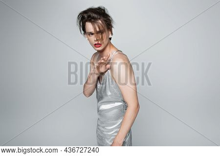 Scared Transgender Man With Red Lips In Slip Dress Gesturing Isolated On Gray
