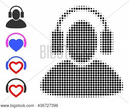 Dotted Halftone Listen Headphones Icon, And Source Icons. Vector Halftone Composition Of Listen Head