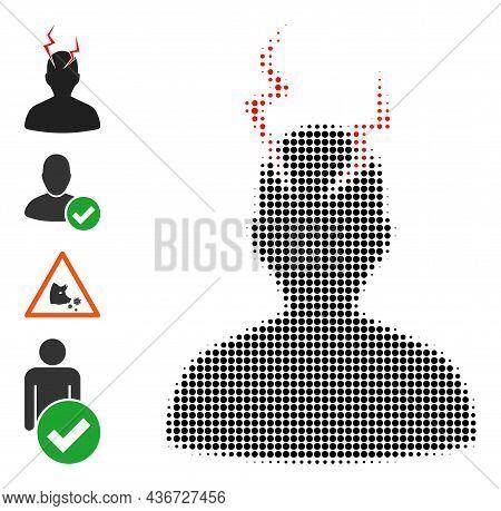 Dot Halftone Head Migrain Sick Icon, And Original Icons. Vector Halftone Pattern Of Head Migrain Sic