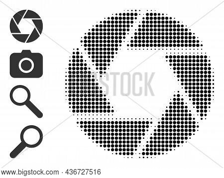 Dotted Halftone Shutter Icon, And Other Icons. Vector Halftone Composition Of Shutter Icon Construct