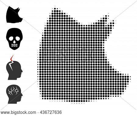 Pixel Halftone Pork Head Icon, And Original Icons. Vector Halftone Pattern Of Pork Head Symbol Organ