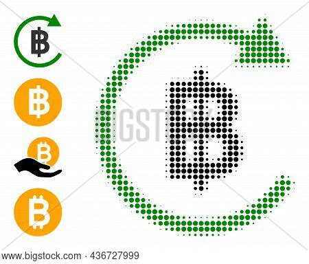 Pixelated Halftone Thai Baht Repay Icon, And Bonus Icons. Vector Halftone Composition Of Thai Baht R