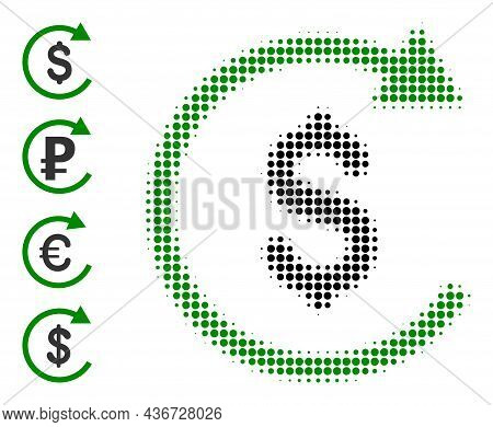 Dotted Halftone Repay Icon, And Other Icons. Vector Halftone Mosaic Of Repay Pictogram Constructed O