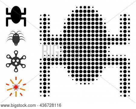 Dot Halftone Bug Icon, And Additional Icons. Vector Halftone Composition Of Bug Icon Composed From C