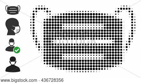 Pixel Halftone Covid Mask Icon, And Original Icons. Vector Halftone Pattern Of Covid Mask Icon Made