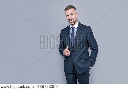 Confident Businessman Man In Businesslike Suit, Copy Space, Business Style