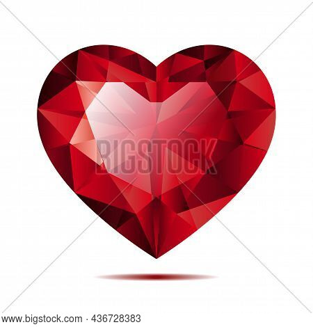 Shiny Red Ruby Crystal Heart Shape Isolated On White Background.