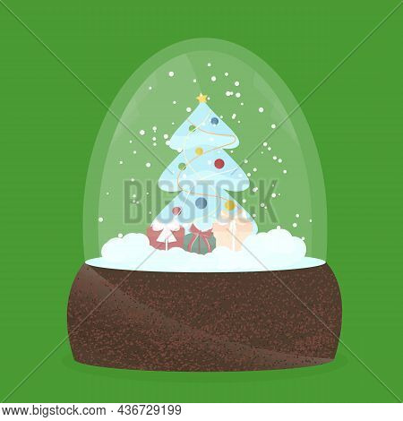 Christmas Glass Ball Inside The Christmas Tree, Gift Boxes And Snowfall. Vector Illustration In A Fl