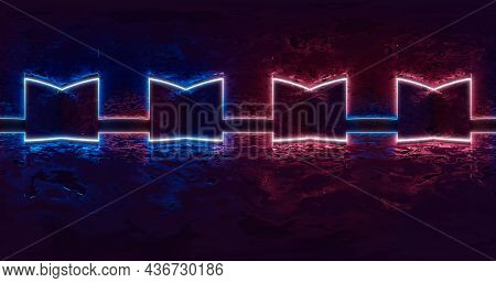 3d Rendering. 360 Degree Spherical Seamless Vr Panorama. Abstract Empty Dark Interior With Neon Ligh