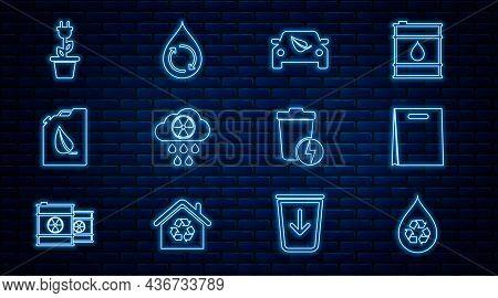 Set Line Recycle Clean Aqua, Shopping Bag, Eco Car Drive With Leaf, Acid Rain And Radioactive Cloud,