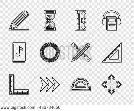 Set Line Folding Ruler, Pixel Arrows Four Directions, Measuring Height And Length, Arrow, Pencil Lin