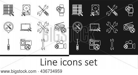 Set Line Video Camera Service, Radio, Crossed Screwdriver And Wrench, Laptop, Location, Database Ser