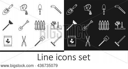 Set Line Garden Rake, Planting Tree In The Ground, Trowel Spade Or Shovel, For Leaves, Fence And Wat