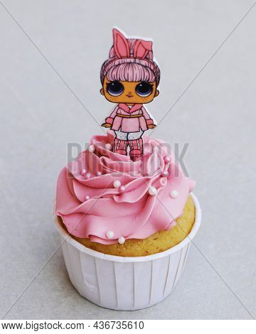 Dubai, United Arab Emirates -october 9, 2021decorated Pink Strawberry Flavored Cupcake Isolated With